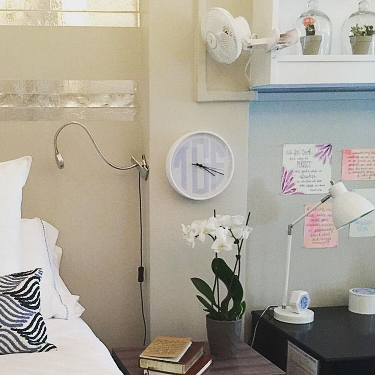 dorm room done right! check out meandredesign.com - GREAT new goods being added to the collection every day including monogrammed wall clocks, bluetooth speakers and hard back & spiral bound journals! #whiteandbright #itsallrighthere #dormroomdecor #monogrammedwallclock #monogrammedspeaker #bluetoothspeaker #meandredesign