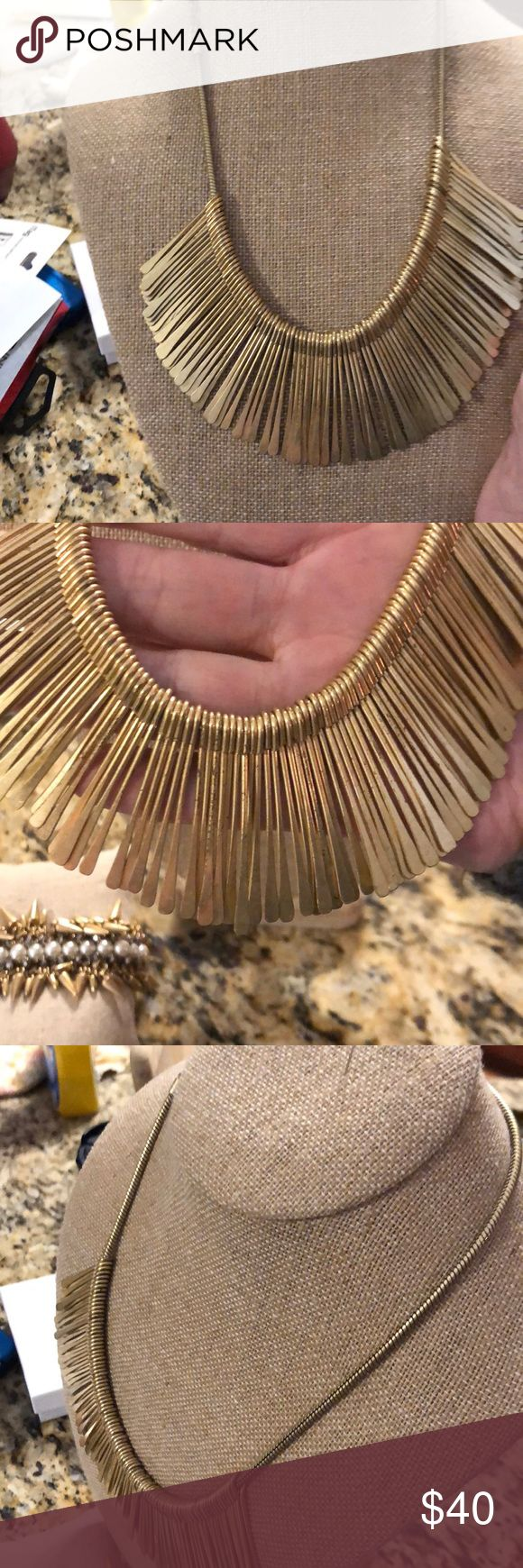 "Stella & Dot Charlotte Essential Fringe This piece has been displayed at Hostess Shows and tried on. I have cleaned & polished this piece in a ""UltraSonic Jewelry Cleaner Machine""..  The Essential Fringe is a favorite to dress up or down.  The piece is a ""brushed gold"" so it will not be smooth. Stella & Dot Jewelry Necklaces"