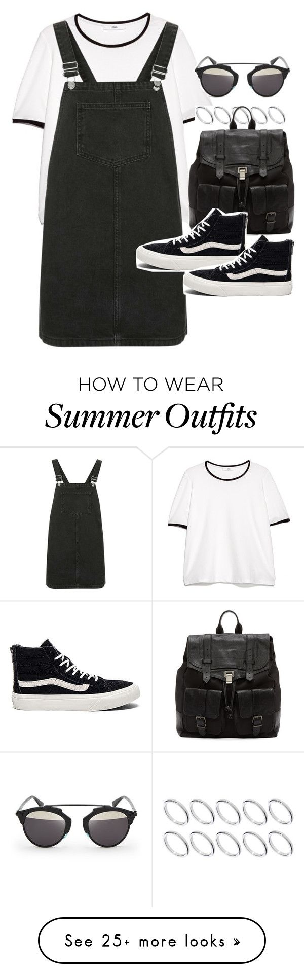 """Outfit for summer with a pinafore"" by ferned on Polyvore featuring MANGO, ASOS, Topshop, Proenza Schouler, Vans and Christian Dior"
