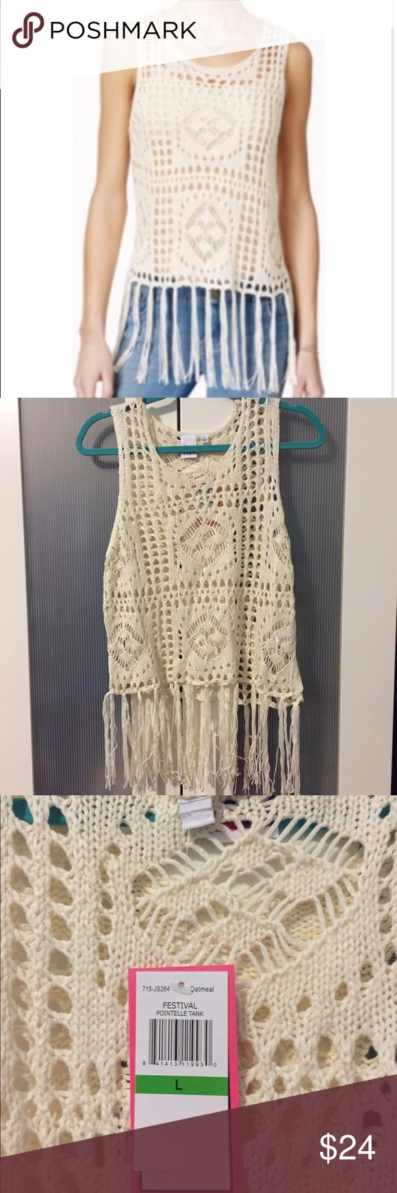 **NEW** Adorable Boho Crochet Fringe Tank NWT This great crochet tank is perfect over a bandeau, bikini top, or tank. Very light sweater-ish material. Cream colored. Machine wash cold. From a non-smoking and pet free home. New with tags and never worn. Tops Tank Tops
