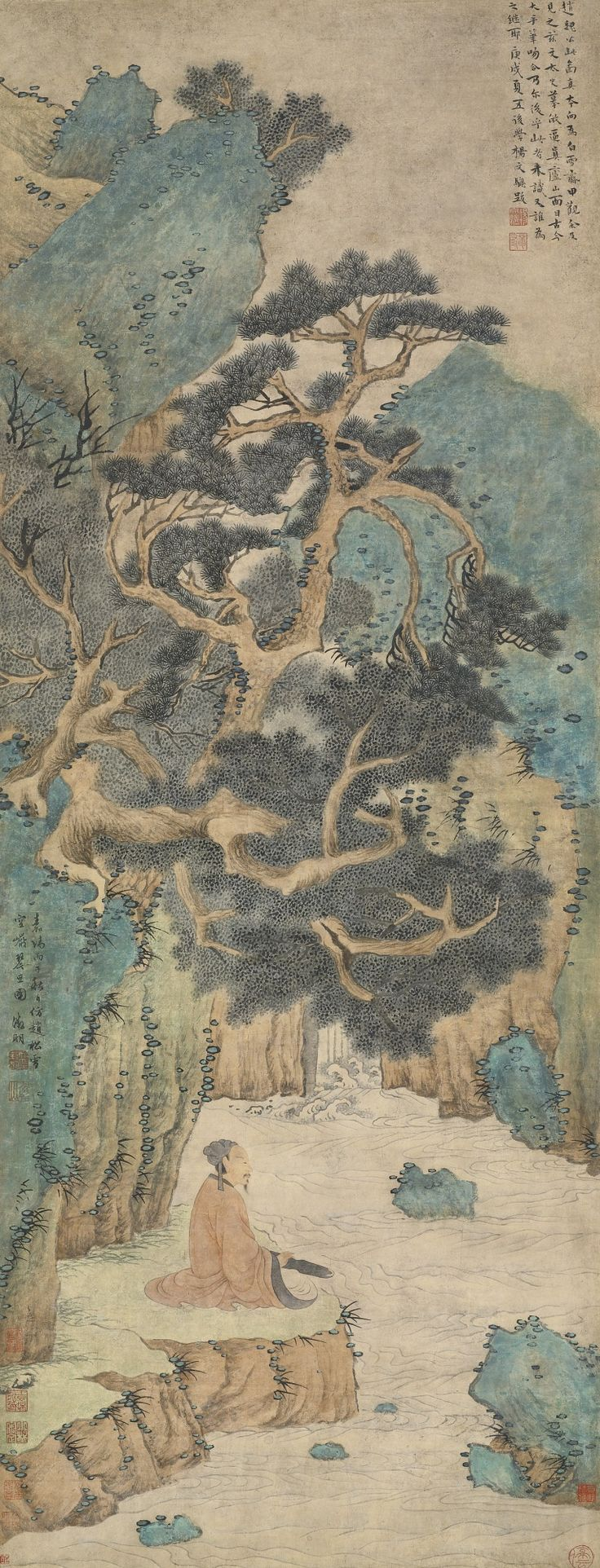 Attributed to Wen Zhengming 1470-1523 FEELING OF MUSIC IN AN EMPTY MOUTAIN