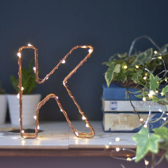 letter light wedding  fairy lights bedroom  copper micro led