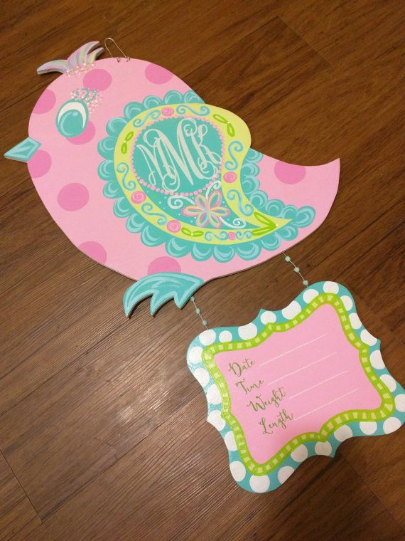 Custom made bird door hanger for your little one! The colors can be customized to whatever colors you want. The initials are vinyl and are