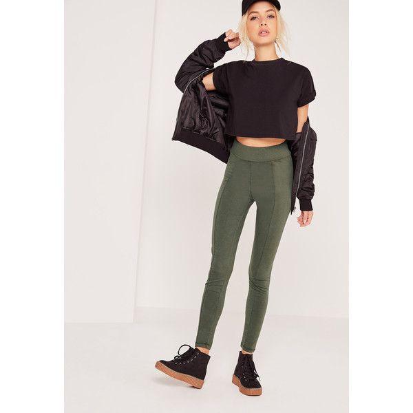 Missguided Cotton Legging ($16) ❤ liked on Polyvore featuring pants, leggings, khaki, stretch pants, stretch leggings, khaki trousers, cotton stretch pants and khaki stretch pants