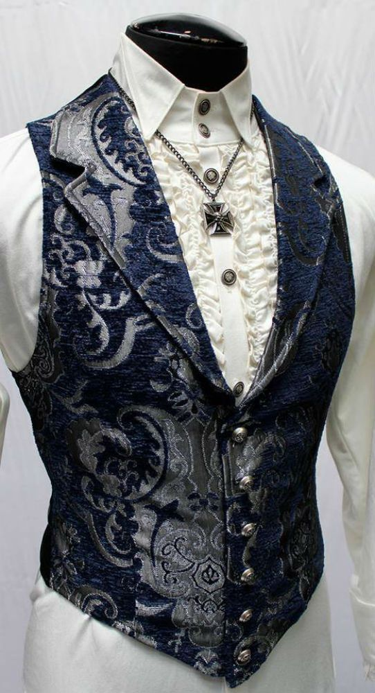Item description from: SHRINE ARISTOCRAT VEST Blue/Silver Tapestry Aristocrat Vest makes a grand statement of style for the bon vivant. Add a colorful cravat or towering top hat and party like it's 189