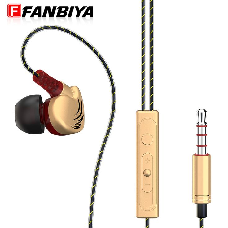 FANBIYA Stereo Wired Earphone 3.5mm Sport Music Headphones Earbuds with Mic Metal Noise Cancelling Ear Hook Running Headset for