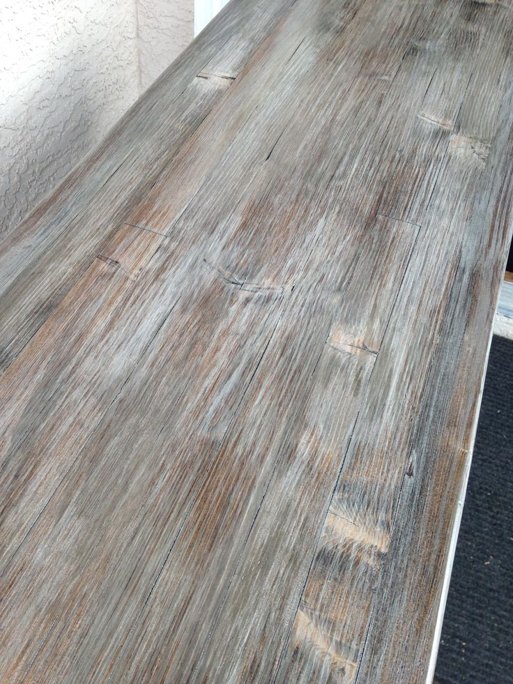 Weathered oak / driftwood finish achieved by layering dark walnut stain with a grey latex wash.