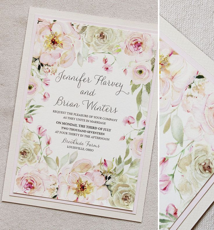 Watercolor Rose And Peony Wedding Invitations