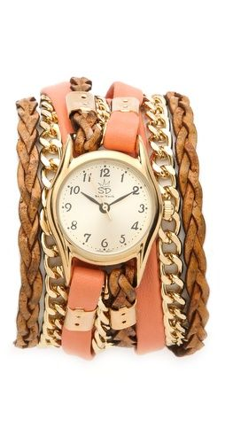 Sara Designs Flat Leather and Chain Wrap Watch