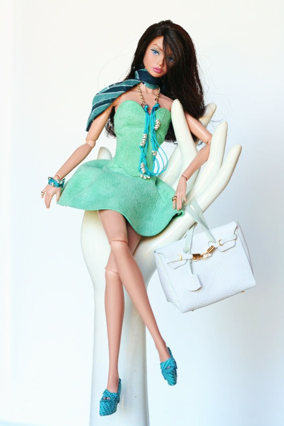 Fashion royalty barbie outfit turquoise leather by dollsalive
