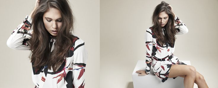 Summery shirt and shorts with a lovely white, black and red print. Black Swan Fashion