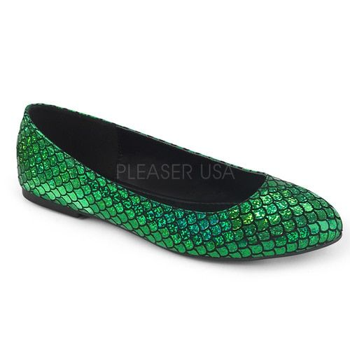 82f858aaf816 Green glitter mermaid flats with fish scale- or dragon scale look