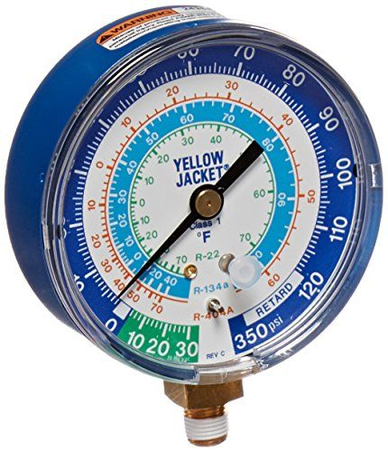 "Yellow Jacket 49106 Gauge (degrees F) Blue Compound, 30""-0-120 psi, R-22/134A/404A, 3-1/8"". For product info go to:  https://www.caraccessoriesonlinemarket.com/yellow-jacket-49106-gauge-degrees-f-blue-compound-30-0-120-psi-r-22-134a-404a-3-1-8/"