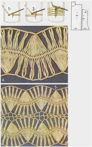 szydełko / wzór / widełki  // hairpin lace