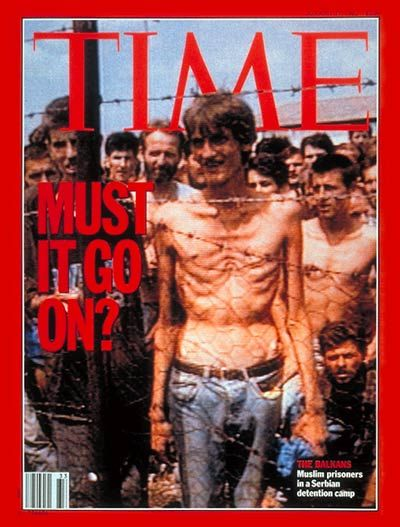 The Balkans | Aug. 17, 1992 Muslim prisoners in Serbian detention camp. Photograph from ITN/Rex.