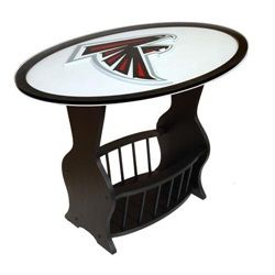 Superieur Atlanta Falcons Wood End Table With Glass Cover