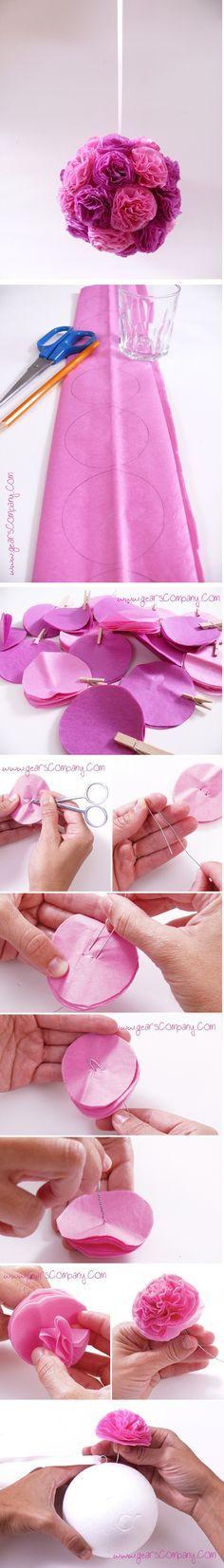 Aprenda como fazer estes pompons de flores de papel de seda. Que efeito lindo…