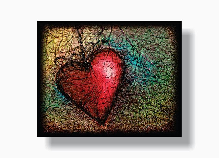 How to PAINT A HEART Using TISSUE PAPER TEXTURE - by Her Art from the Attic