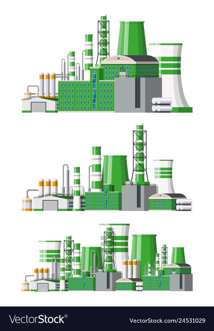 Factory Icon Set Industrial Factory Power Plant Vector Image Factory Icon Plant Vector Icon Set