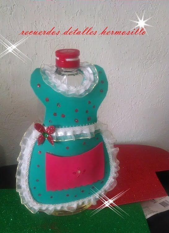 tutorial DIY decoracion navideña mandil para botella