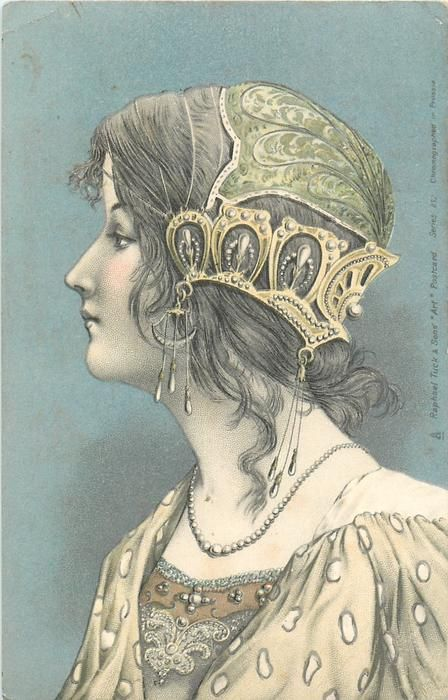 head & shoulder study of girl with hair to neck, heavy gold headpiece across back of head, facing left