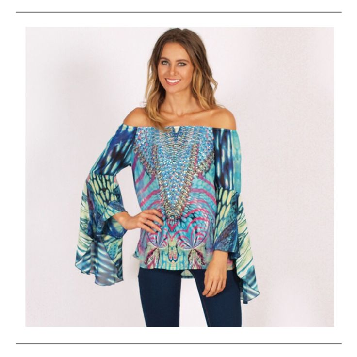Wear%20this%20gorgeous%20print%20top%20off%20the%20shoulder%20with%20white%20jeans%20and%20tan%20boots.Features:%20-%20Blue%20and%20Green%20Colour%20Way%20Print%20-%20Embellished%20on%20the%20front-%20Elastic%20Neckline%20-%20Long%20Raglan%20Bell%20Sleeve%20with%20Open%20Frill%20Detail%20-%20Smock%20Style%20-%20100%%20Polyester-%2092cm%20Bust%20-%20Length%2065cmPlease%20add%20approx%203cm%20for%20each%20size%20