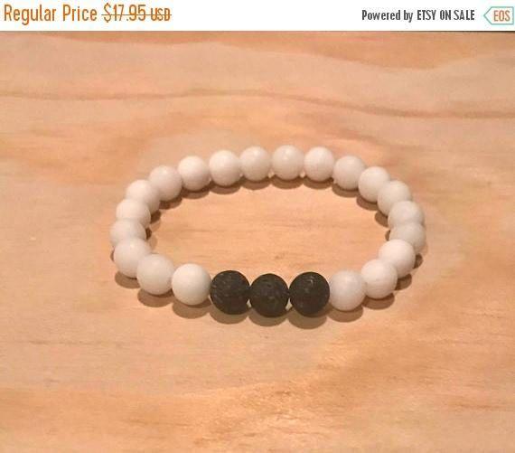On Sale White Jade Lava Stone Diffuser Bracelet, Natural Matte Stones, Aromatherapy Diffuser Jewelry