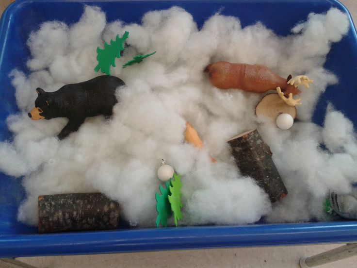 """Preschool Winter Sensory Bin- Fill with cotton """"snow,"""" forest animals, bits of log, trees, and snowballs. Add mittens!"""