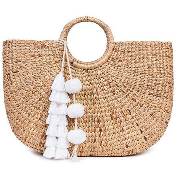 Jade Tribe White Tasseled Basket Bag (8.040 RUB) ❤ liked on Polyvore featuring bags, handbags, white, jade tribe, round purse, white handbags, white bag and white purse