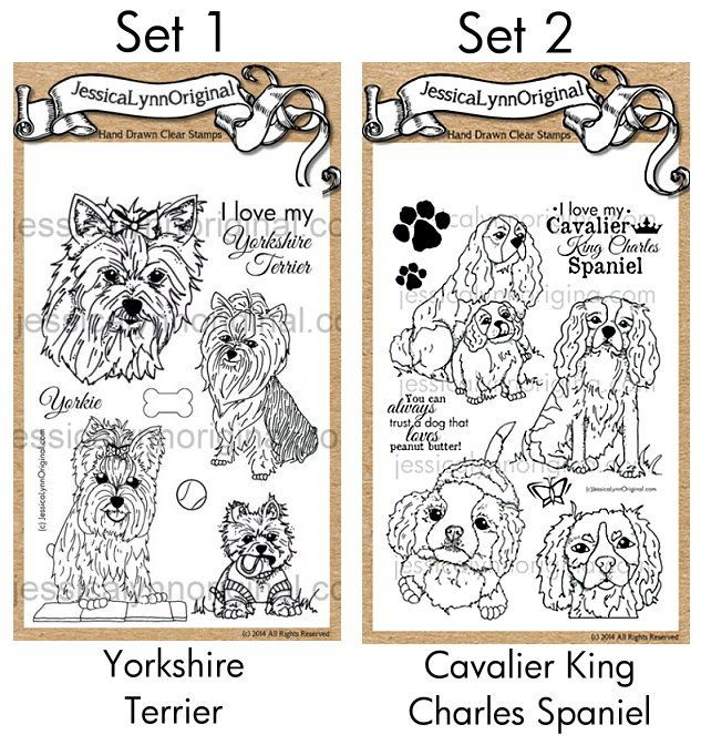 $25 PRE-ORDER the #YorkshireTerrier & #Cavalier #KingCharles #Spaniel Dog stamps on our KickStarter Project. You can see the full sets below! At the end of the kickstarter you will get an email asking which doggy set you want!! What do you think of the first of these sets? https://www.kickstarter.com/projects/jessicalynnmould/akc-dog-breed-hand-drawn-rubber-stamp-project-sets