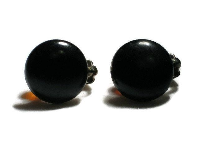 Vintage Black Round Button Plastic Clip Earrings Free US Shipping by GoodBuyForNow on Etsy