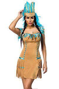 Indianer Kostüm beige/blau