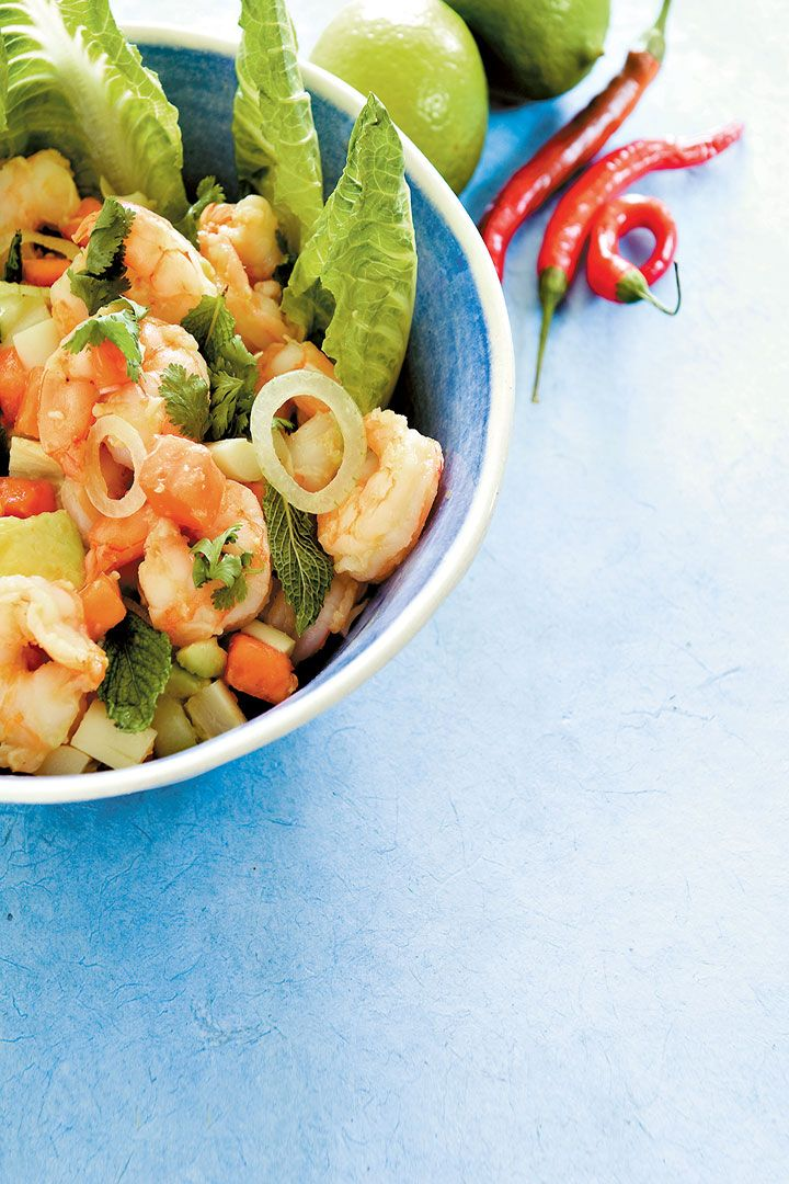 prawn pawpaw and palm heart salad