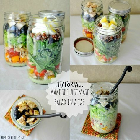 Tutorial- The Ultimate Salad in a Jar and How to Make Salads for the Week in One Day - Hungry Healthy Girl