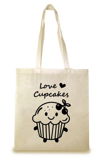 """Bolsa de Tela """"Cupcake"""". Bolsa de tela con asas largas multiusos, muy práctica y versátil. Ideal para hacer la compra, ir al gimnasio, a la playa..."""