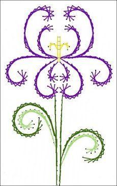 Deco Iris Flower Floral  Paper Embroidery Pattern for by Darse, $1.50