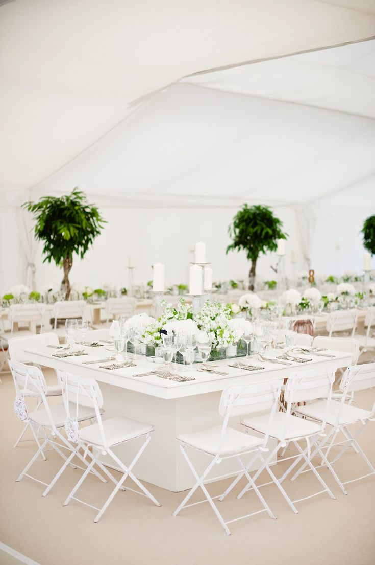 Image by Dominique Bader. - A Contemporary And Modern Garden Marquee Wedding With A Green And White Colour Scheme And A Stephanie Allin Dress And Jimmy Choos With Photography By Dominique Bader.