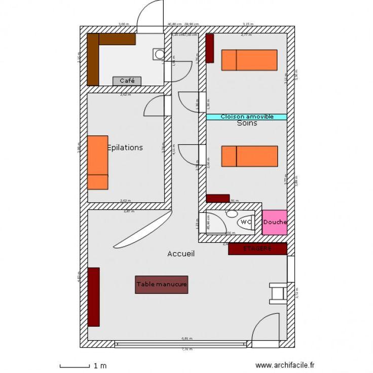 Favori Institut de beauté - Plan 5 pièces 65 m2 dessiné par Nala06 | déco  YE44