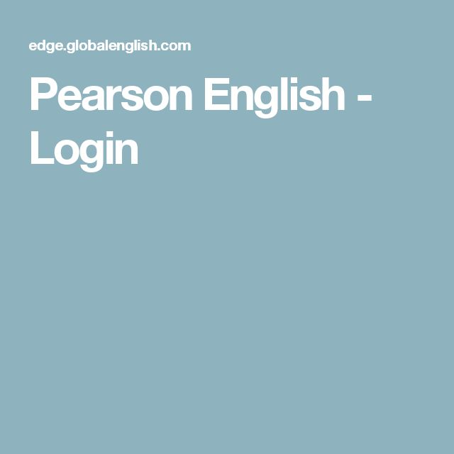 Pearson English - Login