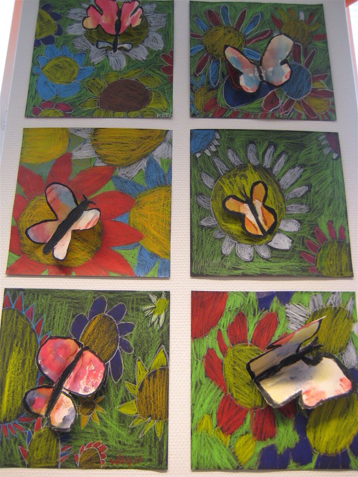 Beautiful flower project with a 3-D butterfly | pop up art lesson