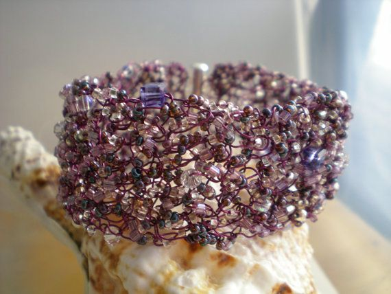 Crochet Wire Bracelet Swarovski Crystals and Purple by uniquenique, $45.00 #onfireteam #handmade #teamfest #lacwe: Cuffs Bracelets, Beads Crochet, Wire Crochet, Seeds Beads, Seed Beads, Swarovski Crystals, Cuff Bracelets, Wire Bracelets, Crochet Cuffs