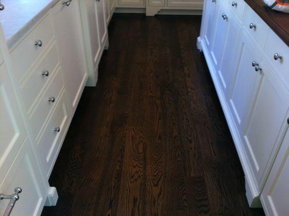 Duraseal Coffee Brown. It is the third house I have used it in and I love it. It is a good dark brown, not ebony, with no red or green