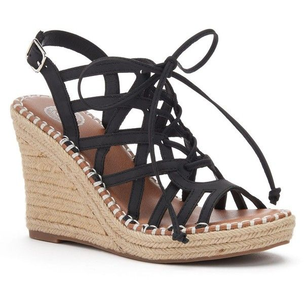 SO® Women's Lace-Up Espadrille Wedge Sandals ($20) ❤ liked on Polyvore featuring shoes, sandals, black, open toe wedge sandals, platform sandals, black wedge espadrilles, buckle strap sandals and strappy wedge sandals