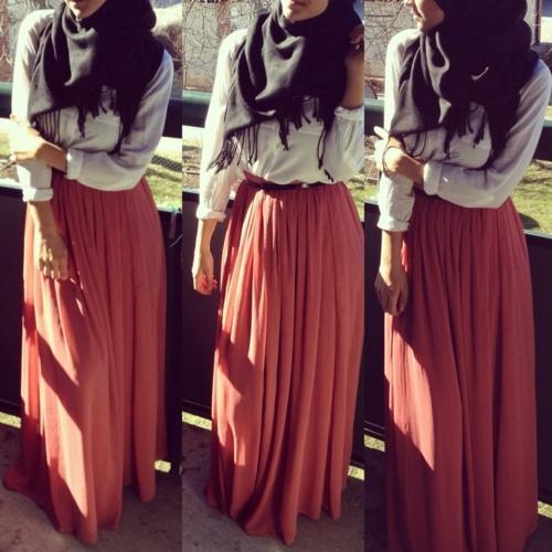 Long Orange flowy skirt If only I liked wearing skirts. Prefer dresses for comfort
