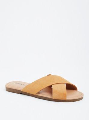 Wide Genuine Suede Crisscross Strap Slide Sandals in Beige/Tan - Wide Width