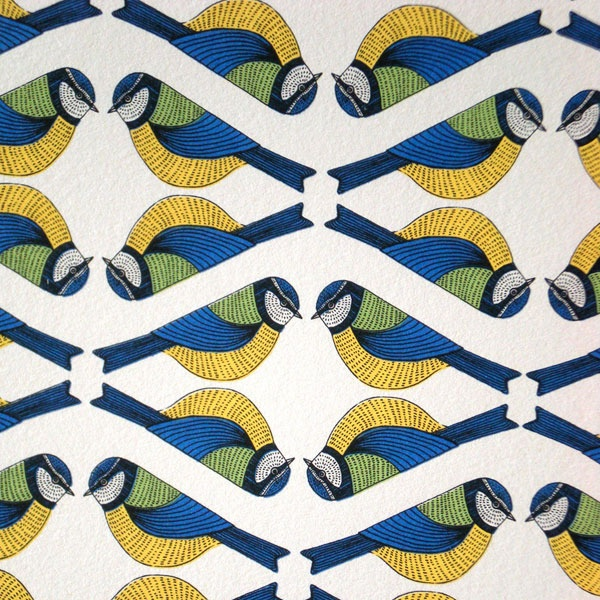 Perfect. Bluetits made abstract by repeating, mirror-imaging, and then tying units into a continuous pattern. With suitable negative space. And look at that colour use! By Alice Melvin.