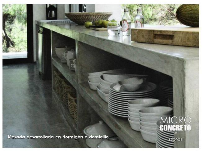 barra cocina en microcemento - cemento alisado - hormigon | Caballito | alaMaula | 108392823