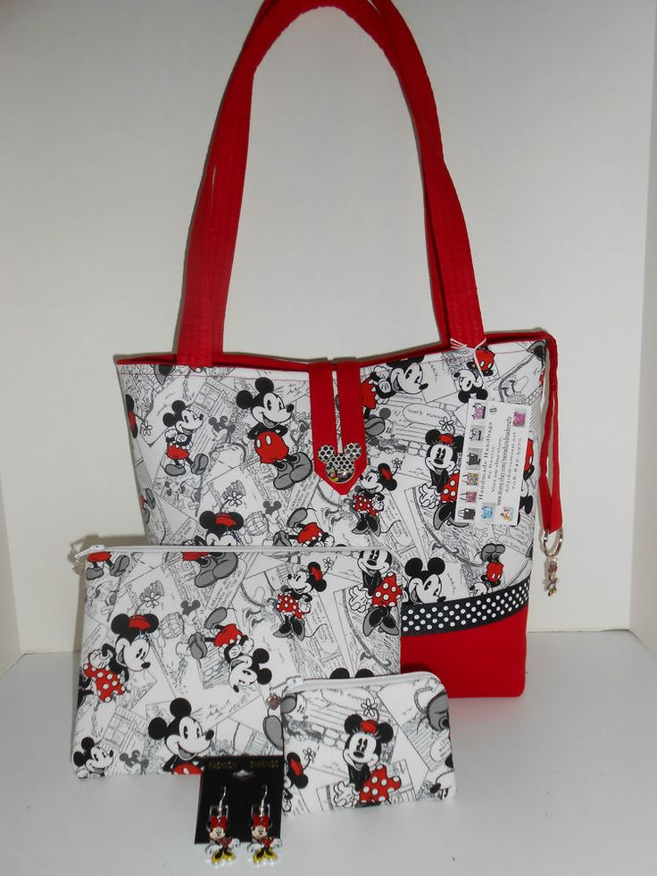 Handmade Handbag Purse Mickey & Minnie Mouse fabric w/Cosmetic & coin bag Large #Handmade #ShoulderBag NEW