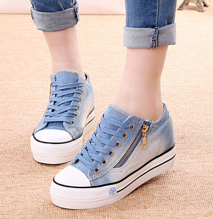 Women Knitted Hollow Out Med Hidden Heels Muffins Sneakers Casual Trainers Shoes