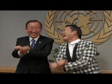 """Watch pop star Psy teach UN Secretary-General Ban Ki-Moon how to dance to his song """"Gangnam Style."""" read http://www.dailymail.co.uk/news/article-2222465/Ban-Ki-moon-shows-Gangnam-Style-meets-rapper-Psy.html"""